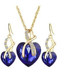 LORI Woman Girl Necklace Earrings Set Heart Diamond Pendant Style Elegant Women Jewellery Necklace Chain Of Crystal...