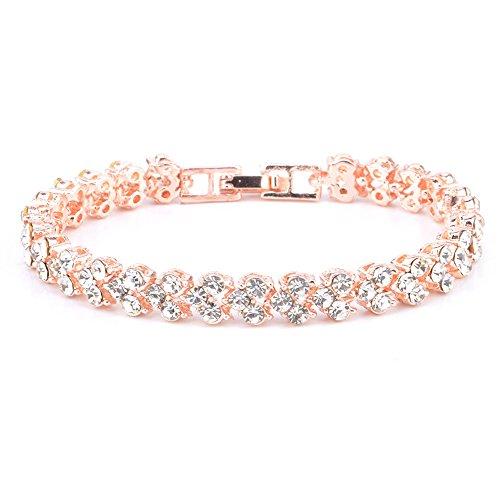 BBring Armbänder für Damen, Frauen Elegant Roman Style Crystal Diamond Armbänder Geschenke Armreif Wrap Armband Schmuck (Rose Gold)