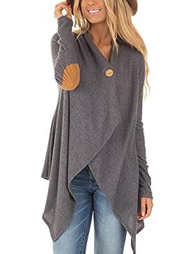 Zonsaoja Las Mujeres Long Sleeve Cardigan Ligero Irregular Knit Sweater