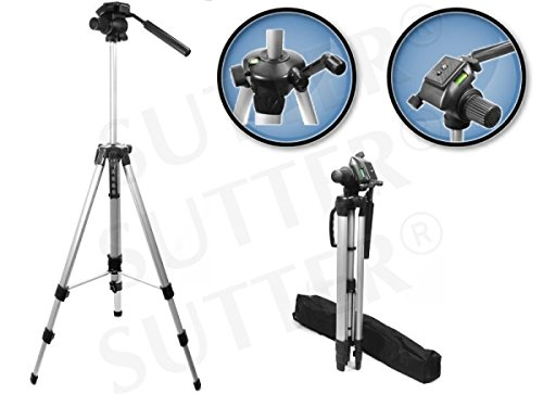 Dreibein Stativ 160cm leicht, inkl. Tasche, 3-Wege-Schwenkkopf und Wasserwaage, Belastbarkeit bis 4 kg, Gewicht: 1,7kg, Kamera Stativ & Fotostativ