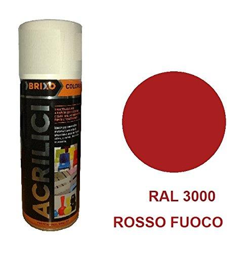 Bomboletta Rosso Fuoco RAL 3000 400ml Vernice Rapida Essiccazzione Acrilica Multimateriale Interno/Esterno Brixo