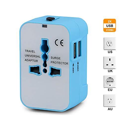 Universal Reiseadapter, Weltweit All-in-One Netzteil Netzstecker Internationales Ladegerät mit 2 USB Ladeanschlüssen für US EU UK AUS Europe Mobiltelefone - Blau
