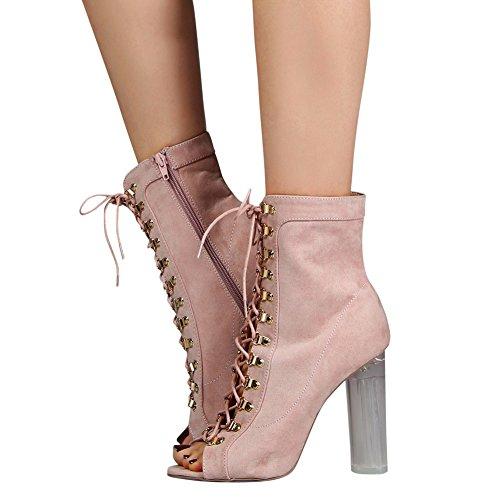 Damen Peep Toe Kurzschaft Stiefeletten High-Heels Transparent Blockabsatz Schn眉rschuhe Pink