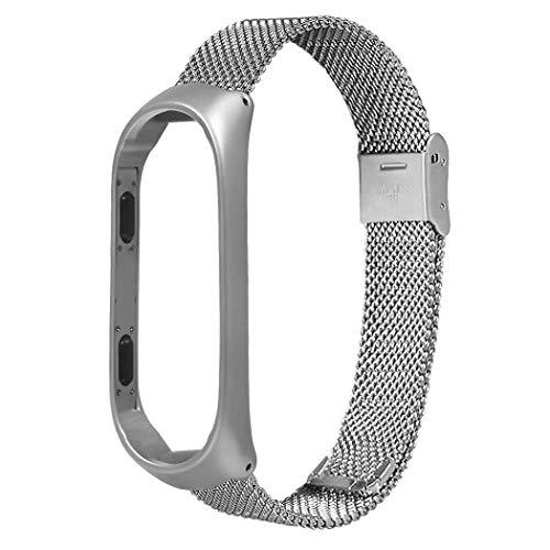 Xiaomi Mi Band 3 Armband, Kcdream Edelstahl Ersatzarmband Mesh Milanese Uhrenarmbänder Metall Replacement Armband für Xiaomi Mi Band 3 (Silber)