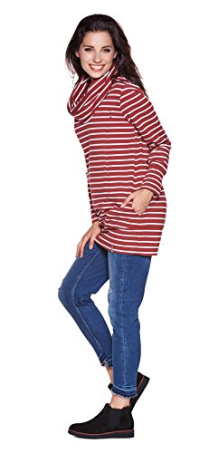 Be! Mama - 2in1 Umstandspullover, Sweatshirt, Still-Pulli, hochwertige Baumwolle, Modell: NELLA Streifen/Bordeaux