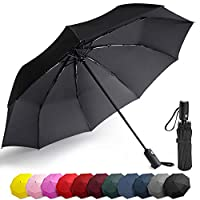 Balnore Travel Umbrella Lightweight Ultra Mini, Auto Open & Close Folding Umbrella with Reinforced 9 Ribs Frame, Black Automatic Compact Fast Drying Umbrella, Slip-Proof Handle for Easy Carry