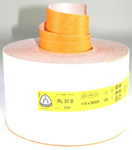 Klingspor PL31B-3224 Schleifpapier auf Rolle, 115 mm, K 100, 50 m, E 447 143