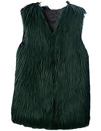 Chalecos De Piel Mujer Sin Mangas V Cuello Color Basic Sólido Chaqueta Piel Otoño Invierno Fashion