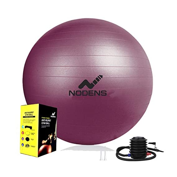 Nodens Anti Burst Gym Ball with Foot Pump 65 cm,Grey