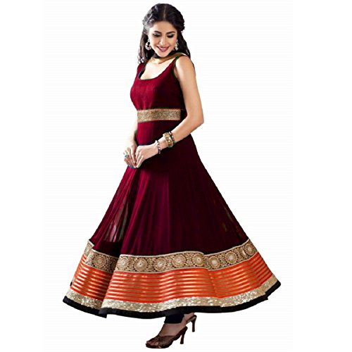 Appu Women's Georgette Anarkali Dress Material (Semi-Stiched-Maroon)  available at amazon for Rs.688