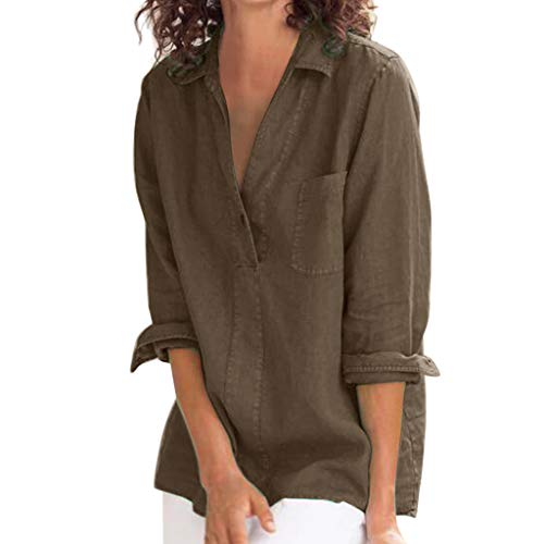 AIFGR Damen Oberteilen Lässiges Knopfoberteil aus Baumwolle Sweater Top Outwear Pulli Cold Shoulder Bluse(Braun,S) -