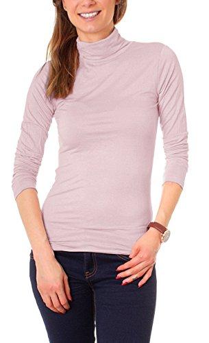 Easy Young Fashion Basic Damen Rollkragen Jersey Shirt Unterzieher Longsleeve Enganliegend Langarm Einfarbig One Size Altrosa