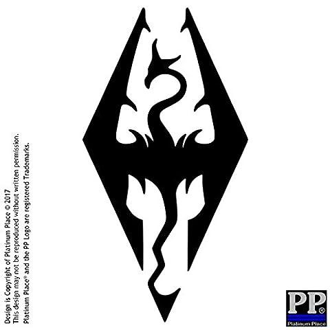 1 x Skyrim Logo-BLACK-Car,Van,Door,Window,Sticker,Sign,Internal,External,Dragonborn,Dovakin,Dragon,Bone,Daedric,Ebony,Elven,Vampire,Warewolf,Dawnguard