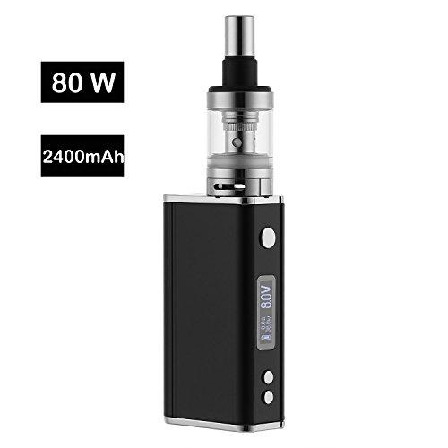 E Shisha ESMK Elektronische Zigarette IBOX 80W Starterset 2400mAh, Top Refill 0.6ohm Clearamizer, TC (Temperaturregelung) Box Mod mit Integriertem 18650 Akku 2400mAh e Rauchen ohne Nikotin (Schwarz)