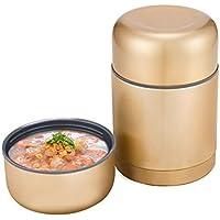 Preisvergleich für Thermische Brotdose - Gold Edelstahl Vakuum Super Lange Isolierbox Student Tragbare Lunchbox [Kapazität 0.6L]