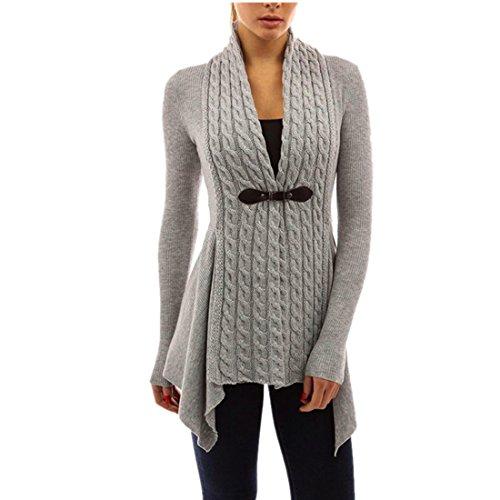 Strickjacke Damen Kolylong Frauen Elegant Lange Strickjacke mit V-Ausschnitt Herbst Winter Warm Mantel Strick Locker Jacke Vintage Pullover...