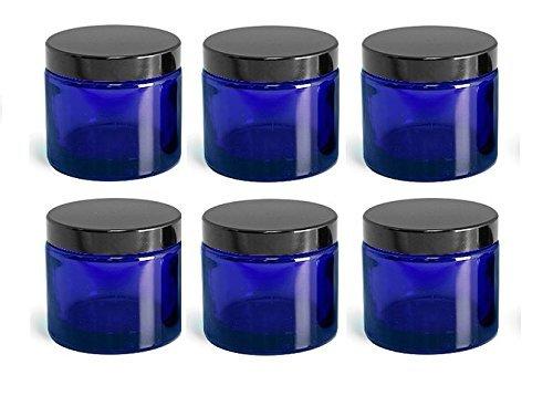 Pack 6 x 120ml empty blau Glas Döschen mit schwarzem Deckel für Aromatherapie,Kosmetik,Badesalz,Körper Butter,Kerzen,Cremes usw.