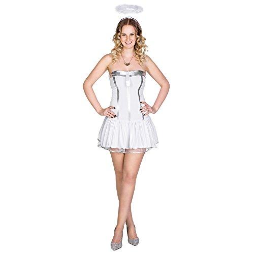 Hot Kostüm Angel - TecTake dressforfun Frauenkostüm Hot Angel Engelskostüm | Aufregendes, kurzes Kleid | Korsagen-Optik im Tube-Look | Durchsichtige BH-Träger | inkl. Heiligenschein (M | Nr. 300443)