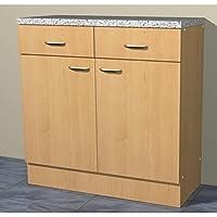 Küchenschrank in verschiedenen breiten Start Melamin Buche/Buche (80cm breit)
