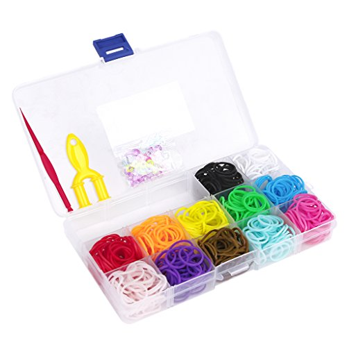 ANGELDEAL Pack of 600Pcs 12 Colors Rubber Bands w/ 24 Clips DIY Loom Bracelet Kit Case