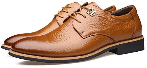 Anlarach Herren Geschäfts Kleid Echtes Leder Oxford Spitze Beiläufige Schuhe Braun 39 EU (Beaded Schuhe Slipper Flats)