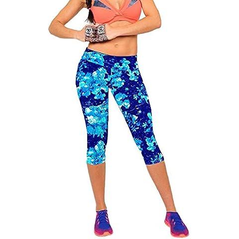 Pantalones mujer deporte Sannysis YOGA Pantalones, Legging Mallas para mujer (Azul, L)