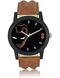 JK Round Black Leather Analog Watch For Men & Boys (LO4,Multicolor)