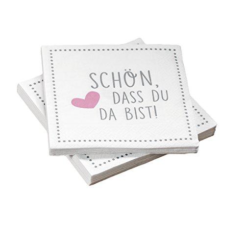 20 Servietten 'Schön, Dass Du da Bist!' 33x33 cm - Grau Rosa - für Hochzeit, Geburtstag, Taufe Oder Andere Festliche Anlässe