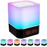 Swonuk Altavoz Lámpara Noche Táctil LED Altavoces Portátiles Lámpara de Mesa Noche con Control Táctil, Reproductor de MP3, Altavoces, Tres Métodos de Reproducción de Música con Tarjeta SD USB