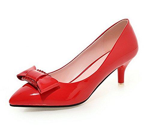 AllhqFashion Femme Tire Pointu à Talon Correct Couleur Unie Pu Cuir Chaussures Légeres Rouge