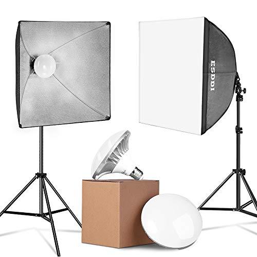 ESDDI LED Softbox Set Fotostudio 2x50x50cm Studioleuchten- Set mit Lichtstativen und 2x5400K 900W energiesparende Fotolampen mit sofortiger Helligkeit ohne...