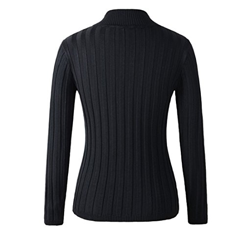 QIYUN.Z Manches Longues Sexy Poitrine Creusent Femmes Se Tricoter Col Tops Pull Noir (large bande)