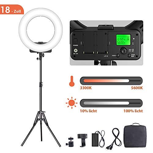GEEKOTO Ringlicht 18-Zoll, 46cm Dimmbare LED Ringleuchte, 48W LED Ringlicht Kit mit Bi-Farbe 3300-5600K und LCD-Display, mit Smartphone und...