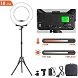 GEEKOTO Ring Light 18 Inches 46 cm Dimmable LED Ring Light, 48 W LED Ring Light Kit with Bi-Colour 3300-5600K and LCD Display, with Smartphone and DSLR Cameras for YouTube Video Recording, Makeup, Live
