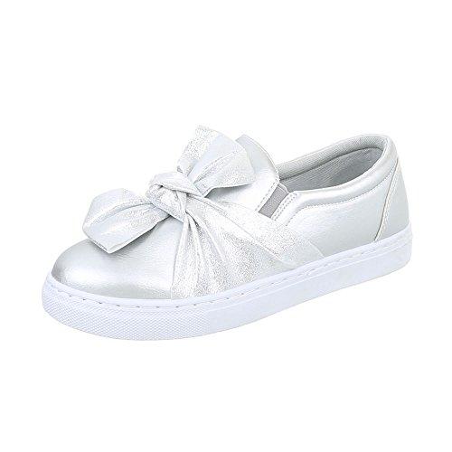 Ital-Design Sneakers Low Damen-Schuhe Sneakers Low Moderne Freizeitschuhe Silber, Gr 38, R-3-1- (Sneaker Design)