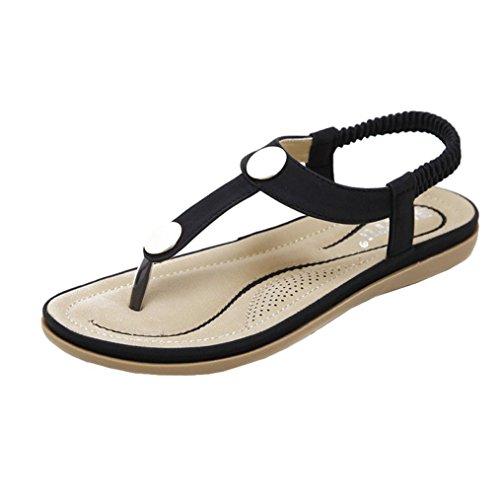 LILICAT Damen Sommer Sandalen Böhmen Zehentrenner Strand Sommerschuhe Frauen Flach Outdoor Schuhe Absatz Handgefertigt PU Leder Riemchen Sandalen Flip Flop Slipper Peep-Toe Schuhe (37, Schwarz)