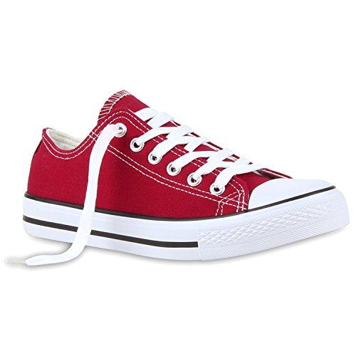 Kostüm Bequeme - Stiefelparadies Bequeme Damen Schuhe Sneakers Low Canvas Freizeit Turnschuhe 116500 Dunkelrot Arriate 44 Flandell