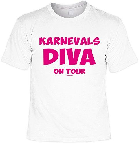 Fun T-Shirt mit Faschingsmotiv: Karnevals Diva on Tour - Das etwas andere Kostüm - Karneval - weiss
