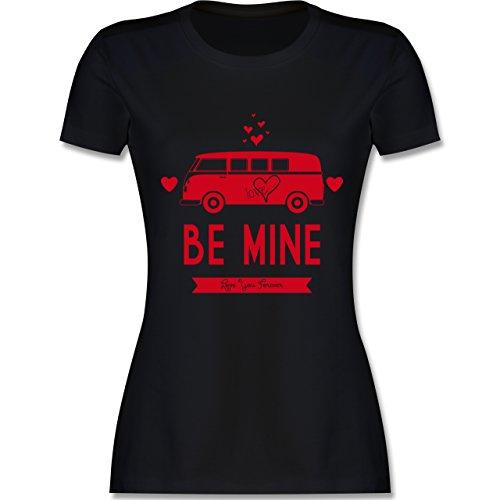 Statement Shirts - Love Me Mine Bus T1 - tailliertes Premium T-Shirt mit Rundhalsausschnitt für Damen Schwarz