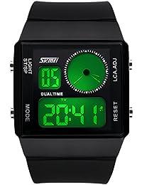 ufengke® paar paar liebhaber kreativer rechteck zifferblatt leuchtende elektronische armbanduhren,dualzeit wasserdicht handgelenk armbanduhren,schwarz