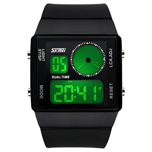 ufengke® pair coppie amanti orologio da polso elettronica creativa linea rettangolo luminoso,doppio fuso orario da polso impermeabile orologio da polso,nere - Linea Bene