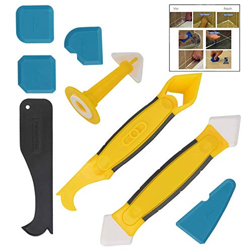 LHKJ 8 Pièces Lisseur Joint Silicone de Lissage Outil de Calfeutrage Coulis,Décorateurs de Calfeutrine Outil Professionnel