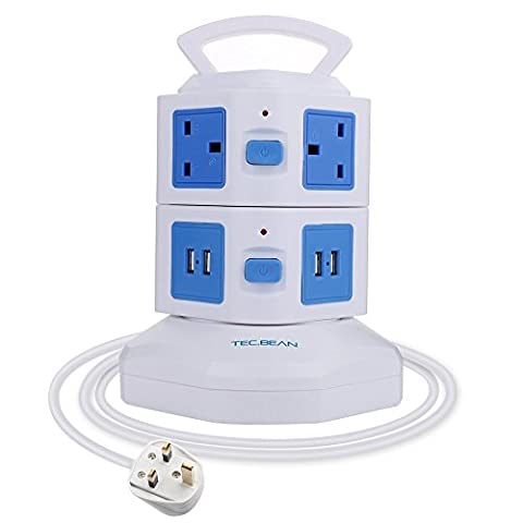TEC.BEAN 3M Extension Lead 6 Gang Surge Protector, Vertical Power Strip with 4 USB Charging Ports Station and Overload Protection (Blue & White) (4 USB 6