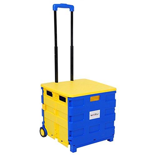 WOLTU EW4806gb Einkaufswagen 64L Einkaufstrolley Einkaufsroller Shopping Trolley klappbar bis 35kg mit Deckel Blau-Gelb