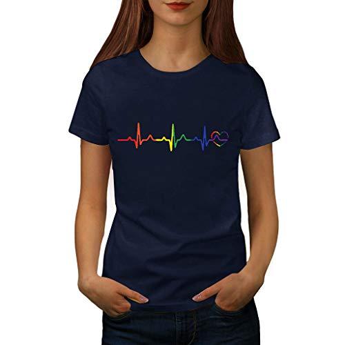 Damen T Shirt, CixNy Bluse Damen Kurzarm Sommer Mode Locker Ärmelloses Herz Drucken Lässig O Hals Oberteil Tops (XXXL, Marine-A) -