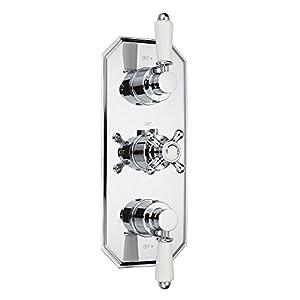 Hudson Reed – Termostato de Ducha de 2 Funciones Empotrable Modelo Victoria – 3 Controles Tradicionales – Mezclador…