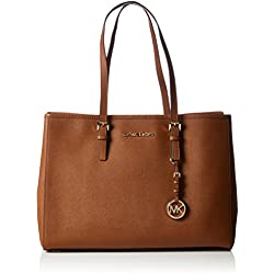 Michael KorsJet Set Travel Saffiano Leather Tote - Bolsa de asa superior, Mujer, color Marrón (Luggage 230), 37x26x16 cm (B x H x T)