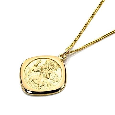 Gold Groß Doppelseitig Viereck St Christophorus Anhänger - 50,8cm (20 Inches)