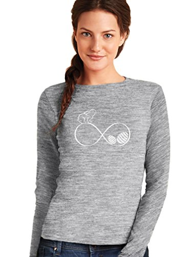 Green Turtle T-Shirts Joyeuses Pâques - Infinity Easter T-Shirt Manches Longues Femme Gris Chiné