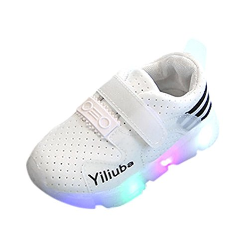 FEITONG Kinder Licht Schuhe Blinkende Sneaker LED Leuchtende Sport Shoes für Jungen und Mädchen (EU:26=CN:27, Weiß) (Schuh Kinder Weiß Skateboard)